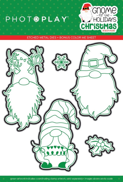 PhotoPlay Photopolymer Stamp & Etched Die Combo, Gnome for the Holidays: Christmas