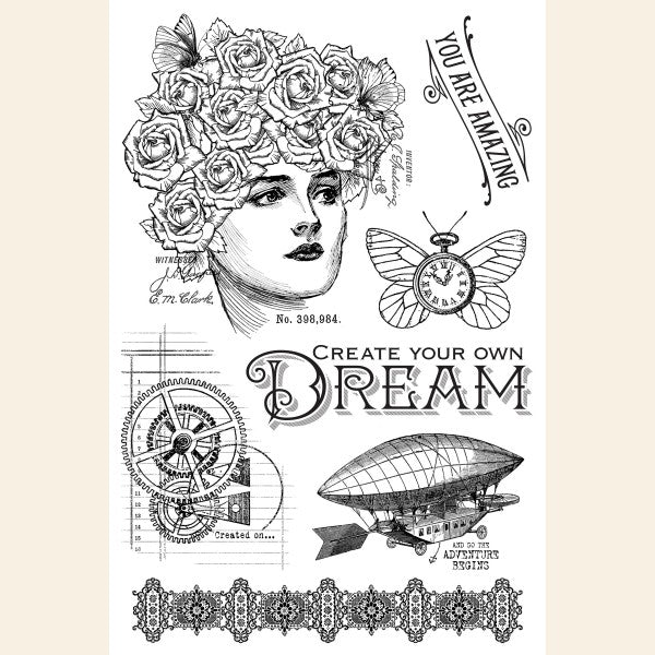Graphic 45, Clear Acrylic Stamps, Imagine - Dream (Retired)