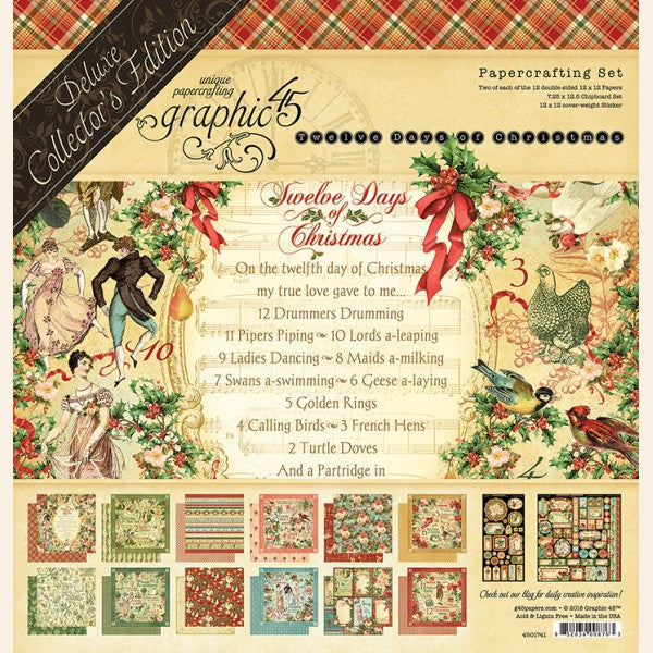 "Graphic 45 Deluxe Collector's Edition Pack 12""X12"", 12 Days Of Christmas"
