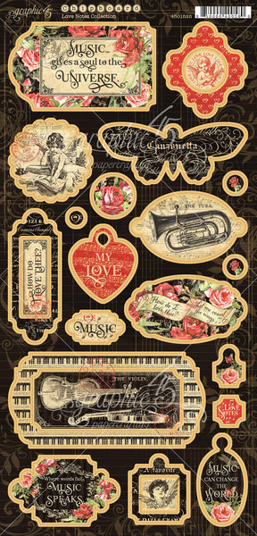 "Graphic 45, Love Notes Chipboard Die-Cuts 6""X12"" Sheet, Decorative & Journaling"