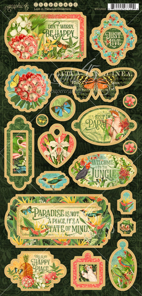 "Graphic 45, Lost In Paradise Chipboard Die-Cuts 6""X12"" Sheet, Decorative and Journaling"