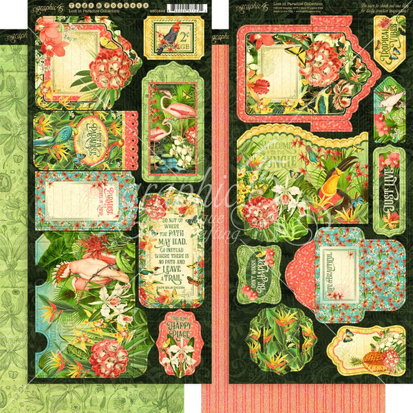 "Graphic 45, Lost In Paradise Cardstock Die-Cuts 6""X12"" Sheets 2/Pkg, Tags & Pockets"