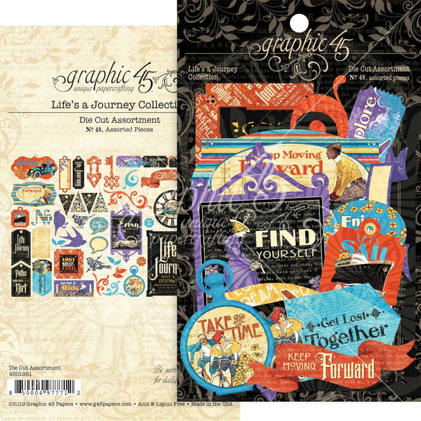 Graphic 45 Life's A Journey Cardstock Die-Cut Assortment