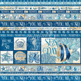 "Graphic 45, Ocean Blue, Double-Sided Cardstock 12""X12"", Corfu"