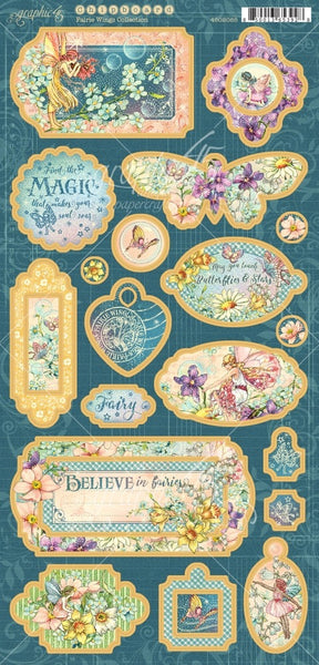 "Graphic 45, Fairie Wings, Chipboard Die-Cuts 6""X12"" Sheet"