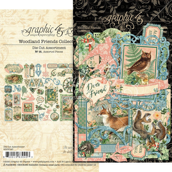 Graphic 45, Woodland Friends Cardstock Die-Cut Assortment