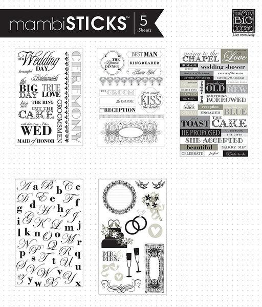Me and My Big Ideas, Glitter Sticker Flip Value Pack, Black and White Wedding - Scrapbooking Fairies