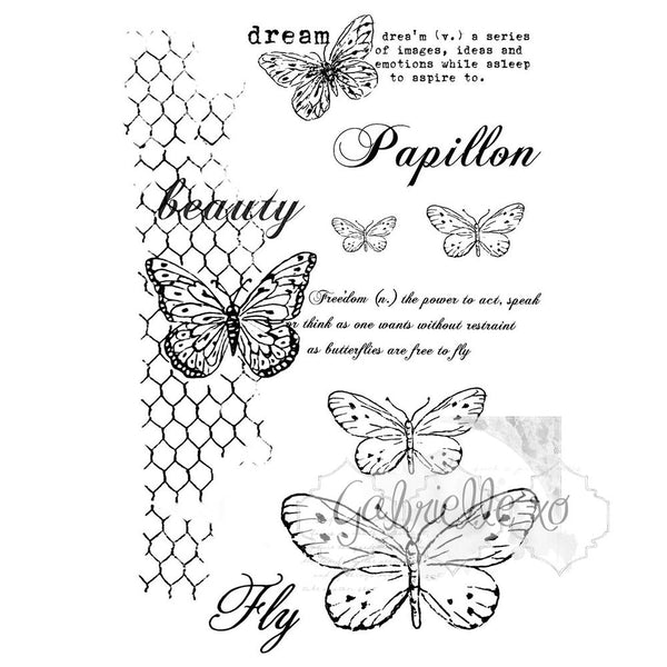 "49 & Market, Clear Stamps 4""X6"", Gabi's Butterflies Are Free"