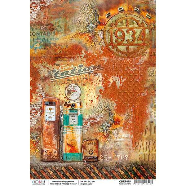 Ciao Bella Piuma Rice Paper Sheet A4, Gas Station, Collateral Rust