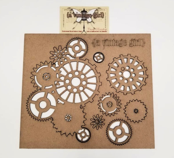 "A Vintage Girl by Candy Rosenberg, ""Imagine"" Chipboard Album, Gear Set"