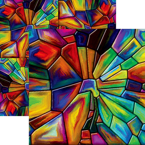 Ella and Viv Paper - Stained Glass Collection - 12 x 12 Double Sided Paper - Goblin Glass