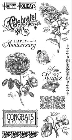 Graphic 45/Hampton Art, Time to Flourish 2, Cling Stamps