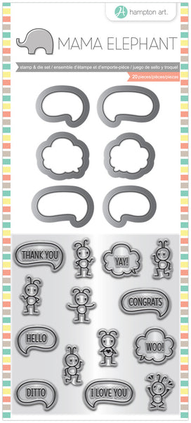 "Mama Elephant Stamp & Die Set 4""X8"", Chit Chat"