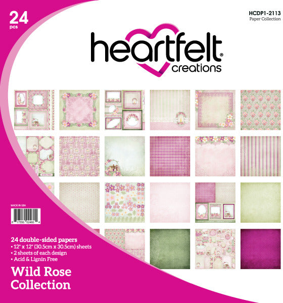 "Heartfelt Creations Double-Sided Paper Pad 12""X12"" 24/Pkg, Wild Rose"