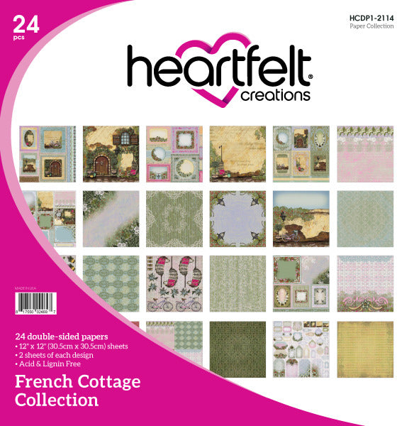 "Heartfelt Creations Double-Sided Paper Pad 12""X12"" 24/Pkg, French Cottage"