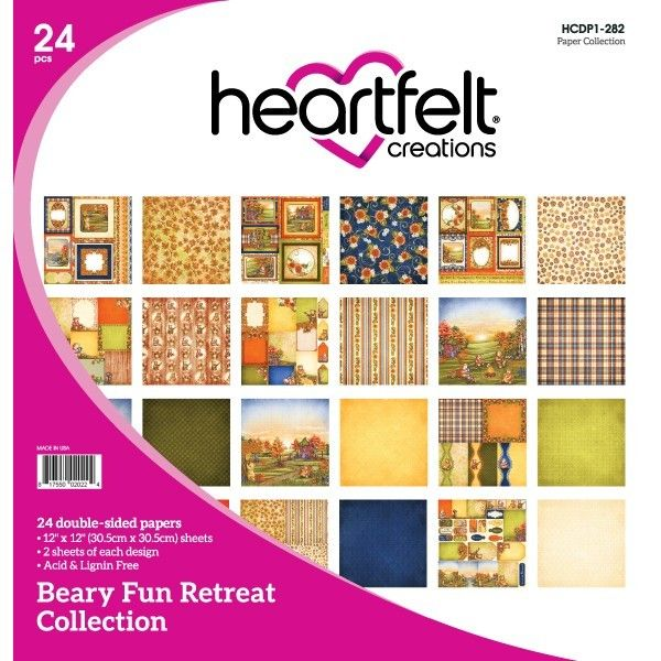 "Heartfelt Creations Double-Sided Paper Pad 12""X12"" 24/Pkg, Beary Fun Retreat Collection"