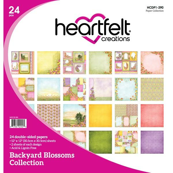 "Heartfelt Creations Double-Sided Paper Pad 12""X12"" 24/Pkg, Backyard Blossoms Collection"