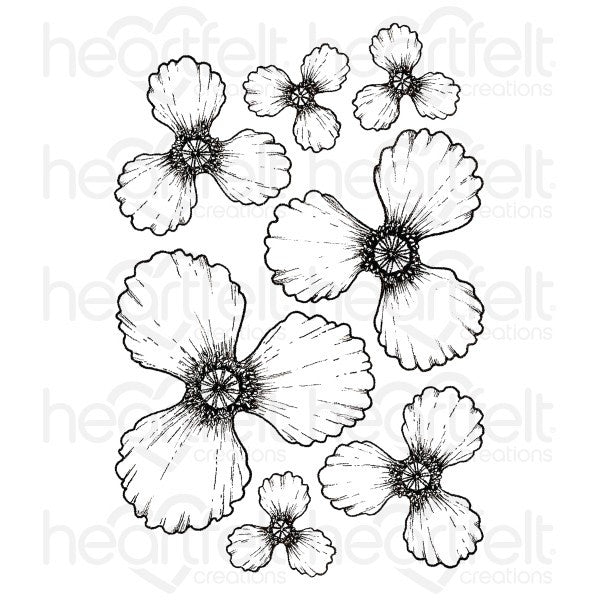 Heartfelt Creations, Blazing Poppy Petals Cling Stamp Set - Scrapbooking Fairies