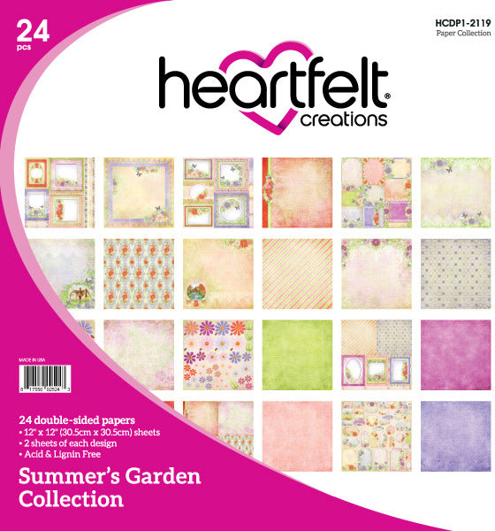 "Heartfelt Creations Double-Sided Paper Pad 12""X12"" 24/Pkg, Summer's Garden"