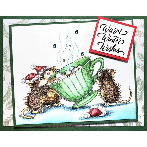 Stampendous House Mouse Cling Stamp, Sharing A Sip By Jamie Martin