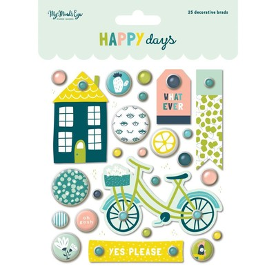 My Mind's Eye, Happy Days Decorative Brads 25/Pkg