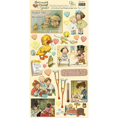 Feel Better Heartwarming Vintage Scrapbook Stickers - Scrapbooking Fairies