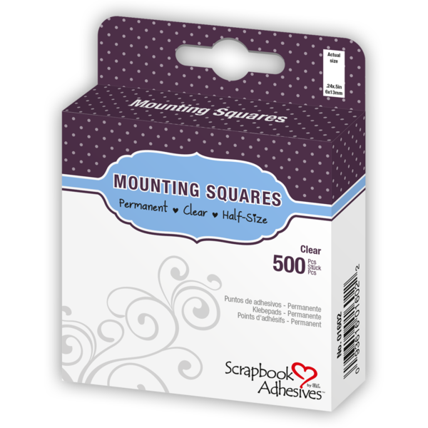 Mounting Squares - 500 Clear, Half-size - Scrapbooking Fairies