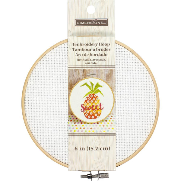 "Dimensions, Embroidery Hoop with 14 count Aida 6"", White"