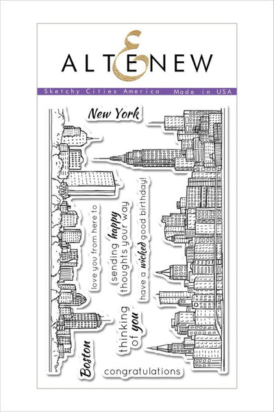 Altenew, Sketchy Cities America Stamp Set - Scrapbooking Fairies