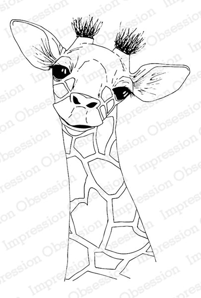 Impression Obsession, Cling Stamp, Baby Giraffe - Scrapbooking Fairies