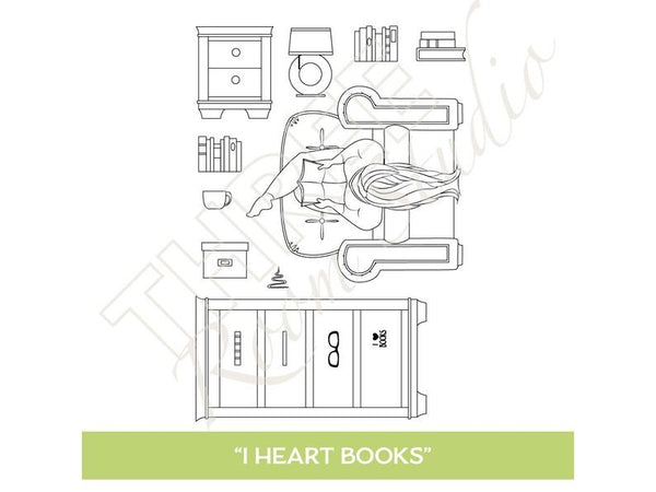 "Three Room Studio, ""I Heart Books"" Clear Stamp Set"
