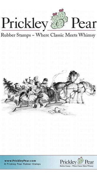 Prickley Pear, Horse Drawn Sleigh - Red Rubber Stamp - Scrapbooking Fairies