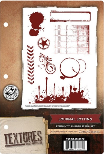 Crafter's Companion, Textures Artist Collection, Journal Jotting, EZmount Rubber Stamp Set