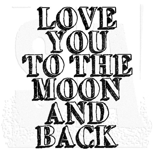 Tim Holtz Wood Mounted Stamp, To The Moon