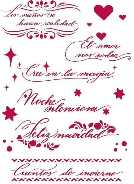 Stamperia, Stencil G, 21X29.7cm, Winter Tales Spanish quotes