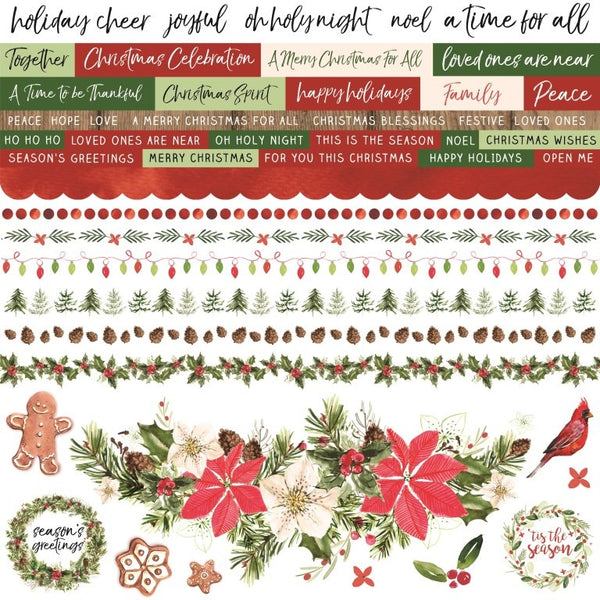 "Kaisercraft Cardstock Stickers 12""X12"", Peace & Joy"