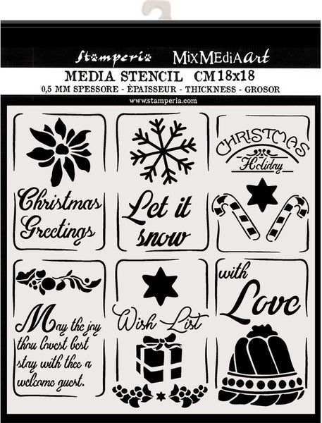 "Stamperia, Thick Stencil 7.08""X7.08"",  Christmas Tags"