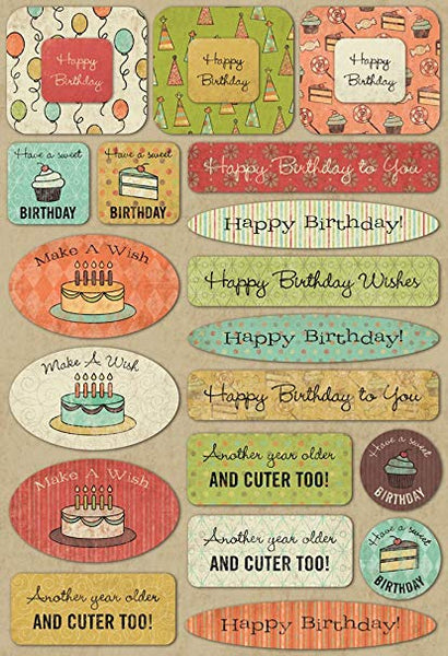 Karen Foster Cardstock Stickers, Birthday Wishes
