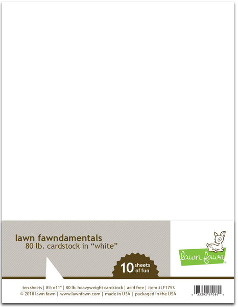 Lawn Fawn, 8.5X11, White Cardstock, 80lb Heavyweight