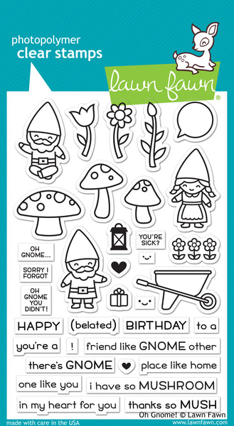 Lawn Fawn, Oh Gnome! Clear Stamps & Dies Combo