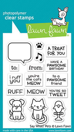 "Lawn Fawn Clear Stamps 3""X2"", Say What? Pets"