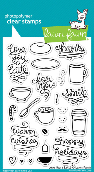 Lawn Fawn, Love You A Latte, Clear Stamps Set - Scrapbooking Fairies