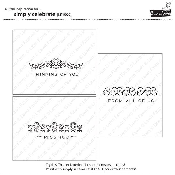 Lawn Fawn SIMPLY CELEBRATE Clear Stamps /& Lawn Cuts Die Set LF1599 LF1600