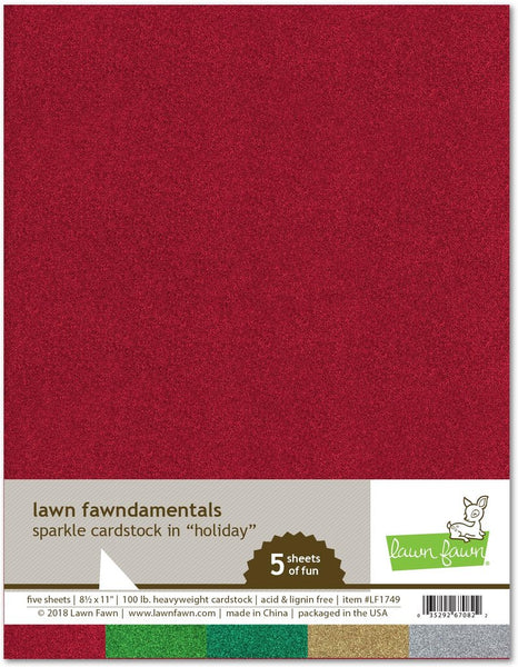 Lawn Fawn, 8.5X11, Sparkle Cardstock - Holiday, 100lb Heavyweight