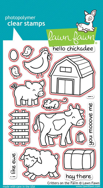 Lawn Fawn Clear Stamps & Dies Combo, Critters on the Farm (LF355 & LF686)
