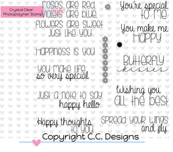 C.C. Designs - Clear Photopolymer Stamps - Happy Sentiments - Scrapbooking Fairies