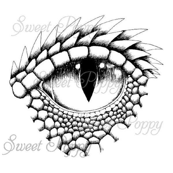 Sweet Poppy Stencil:  A6 Clear Stamp, Large Dragon Eye