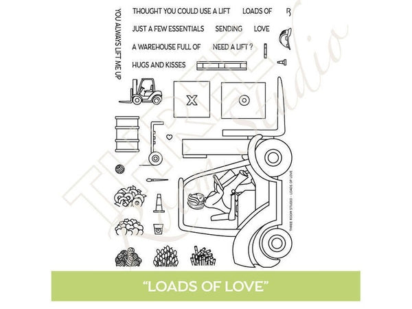 "Three Room Studio, ""Loads of Love"" Clear Stamp Set"