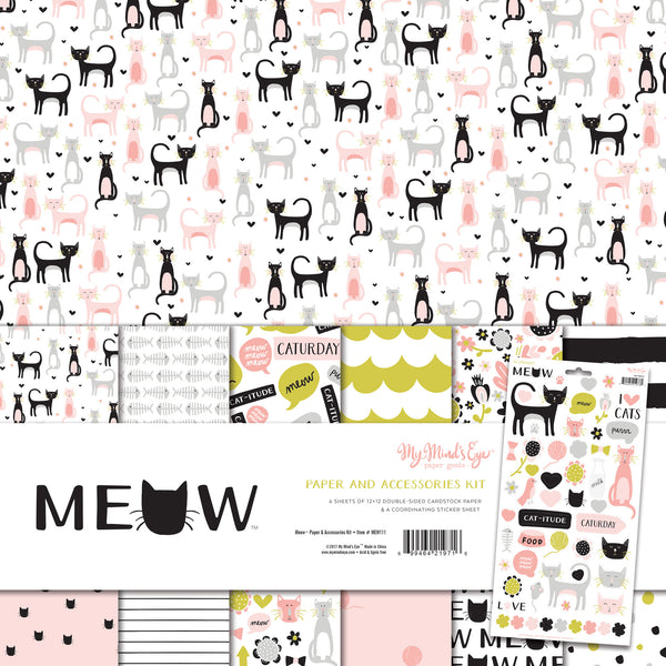 My Minds Eye, Paper And Accessories Kit, Meow - Scrapbooking Fairies