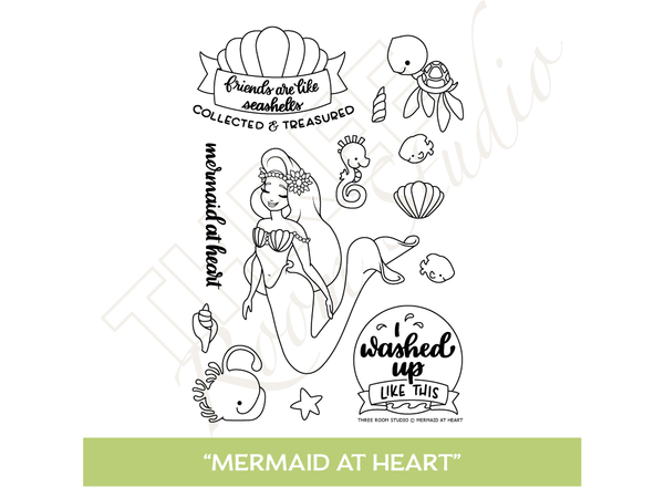 "Three Room Studio, ""Mermaid at Heart"" Clear Stamp Set"